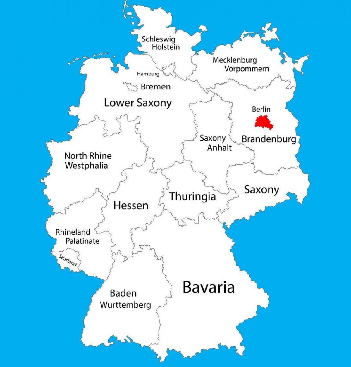 Berlin Niemcy Mapa Niemiec Pokazuje Berlin Niemcy